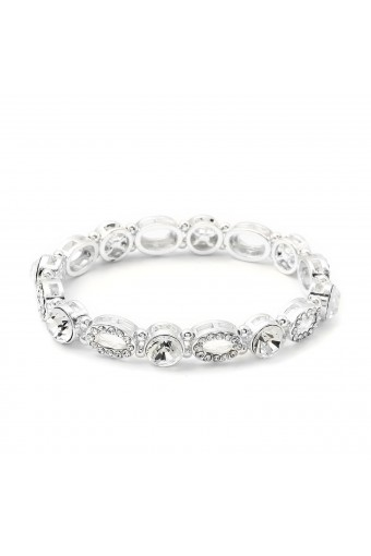 Silver Crystal Rhinestone Oval Shape Stretch Bracelet