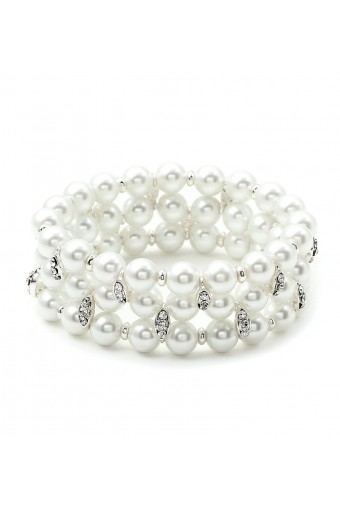 Silver Crystal Rhinestone Accents on White Pearl 3 Strand Row Stretch Bracelet