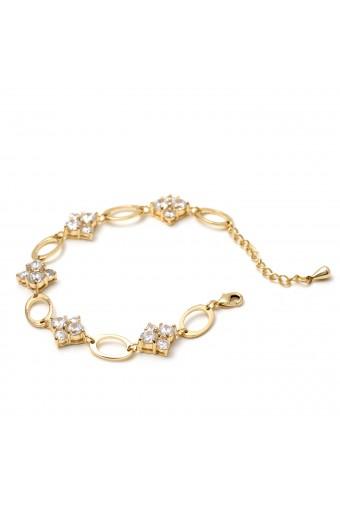 Gold Crystal Cubic Zirconia Diamond & Oval Shape Combination Link Bracelet