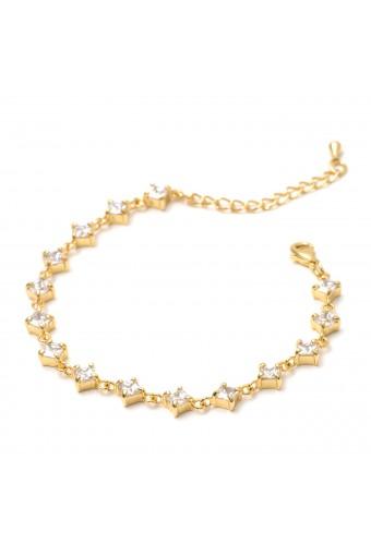 Gold Crystal Cubic Zirconia Diamond Shape Link Bracelet