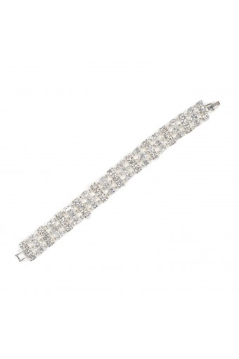 Silver Crystal Cubic Zirconia 3 Line Bracelet