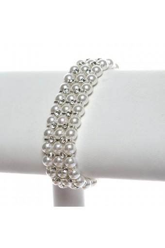 Silver White Pearl 3 Line Bracelet