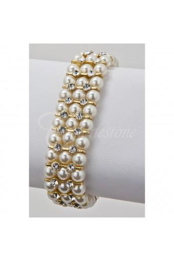 Gold Cream Pearl 3 Line Bracelet