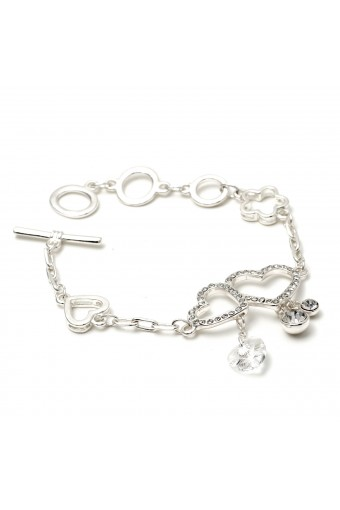Silver Crystal Cubic Zirconia Double Hearts Link Bracelet