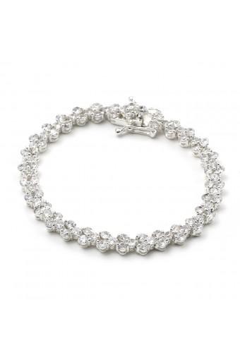 Silver Crystal 3 Cubic Zirconia Heart Shape Tennis Bracelet