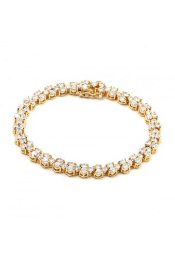 Gold Crystal 3 Cubic Zirconia Heart Shape Tennis Bracelet