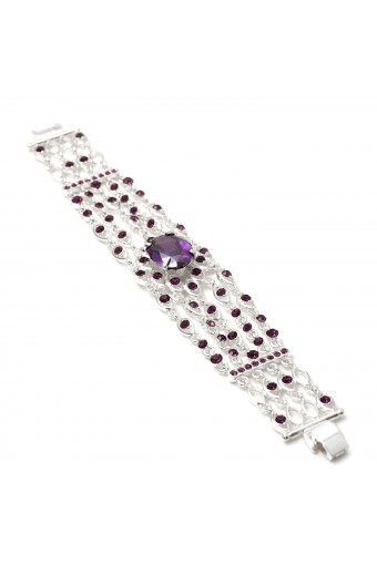 5 Strands Silver Amethyst Cubic Zirconia with Oval Shaped Stone Strand Bracelet