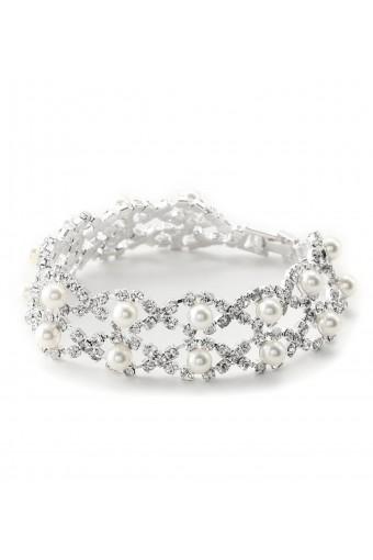 Two Rows White Pearl & Silver Rhinestone Bracelet