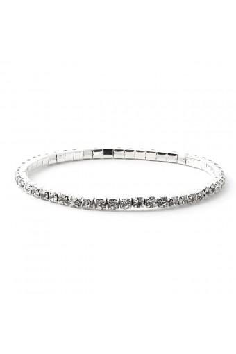 Silver Crystal 1 Line Stretch Bracelet