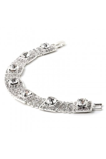 Wedding Bracelet Silver Crystal 5 Row Rhinestone Link Bracelet