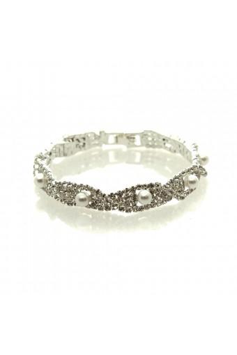 Silver White Pearl Bracelet