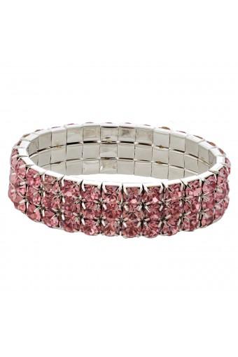 Wedding Bracelet Silver Light Rose 3 Rows Stretch Bracelet
