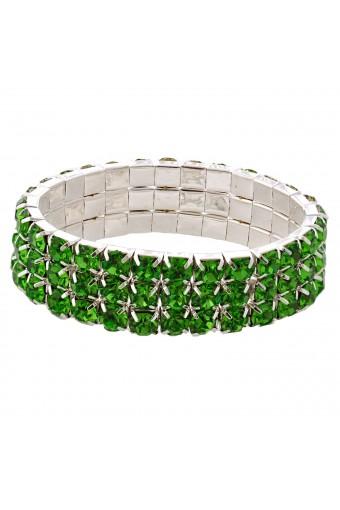 Wedding Bracelet Silver Peridot 3 Rows Stretch Bracelet