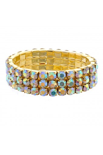 Topwholesalejewel Fashion Bracelet Gold Plating Auroa Borealis Stretch Bracelet