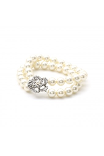 8mm White Pearl 2 Strand Row Stretch Bracelet with Silver Knot Accent