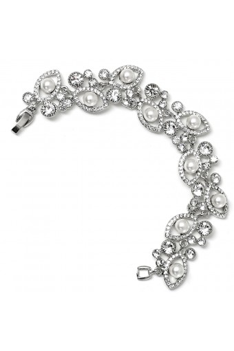 Silver Crystal Rhinestone Eye Shape with White Pearl Insert and Crystal Stones Bracelet