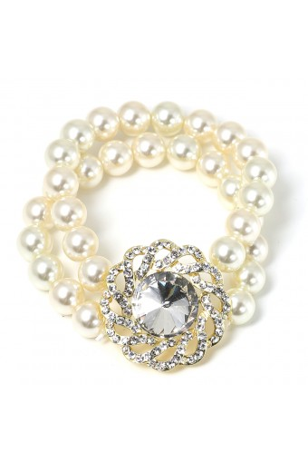 Gold Crystal Rhinestone in Swirl Formation with Crystal Stone Insert and Cream Pearl Bracelet