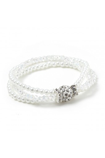 Loose 2 Layer White Pearl and 1 Layer Crystal Stones with Silver Crystal Rhinestone Ball Tied Stretch Bracelet