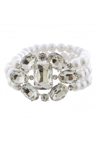 Fashion Jewelry Silver Plating Faux Pearl Stretch Bracelet
