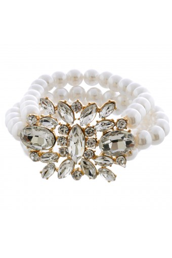 Fashion Jewelry Gold Plating Faux Cream Pearl Bracelet