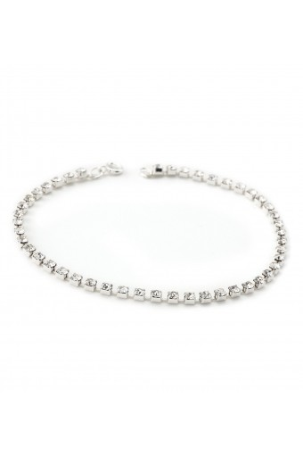 Silver Crystal Rhinestone Single Row Strand Tennis Anklet