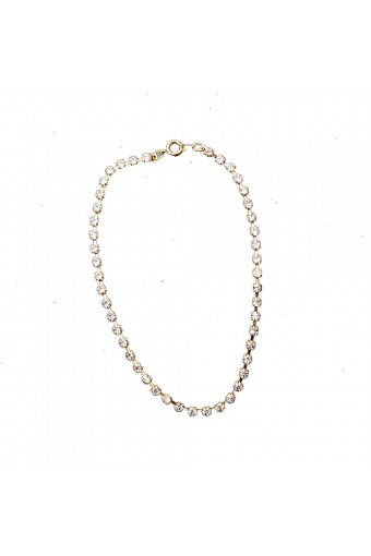 Gold Crystal Rhinestone Single Row Strand Tennis Anklet