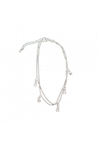 Silver 2 Row Strand with Dangle Crystal Stone Anklet