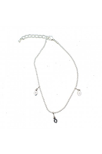 Silver Single Strand with Silver Dangle Heart Shape Anklet