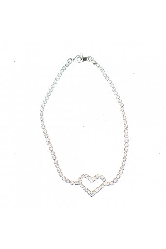 Silver Crystal Rhinestone with a Heart Shape Anklet
