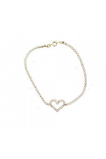 Gold Crystal Rhinestone with a Heart Shape Anklet
