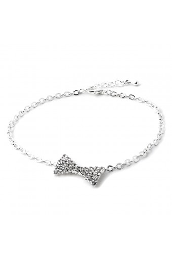 Silver Chain Anklet with Crystal Rhinestone Filled Ribbon Accent