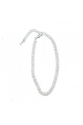 Silver Crystal Rhinestone 2 Row Strand Anklet