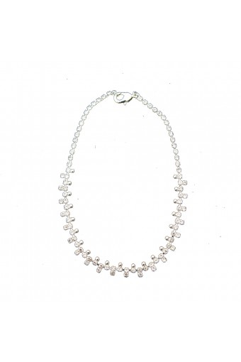 Silver Crystal Rhinestone Square and Ball Anklet
