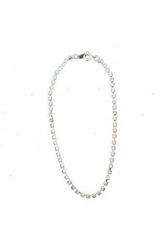 Silver Crystal Rhinestone Single Row Strand Anklet