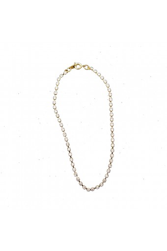 Gold Crystal Rhinestone Single Row Strand Anklet