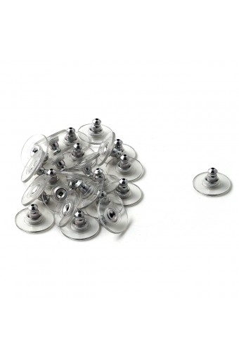 Silver Clear Plastic Back Clutches (12 Pairs)