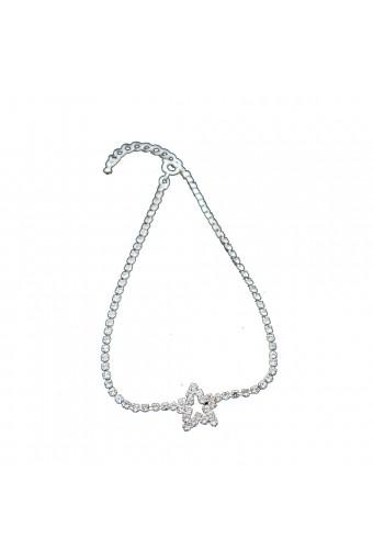 Silver Crystal Rhinestone Star Shape Anklet