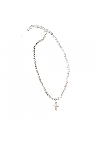 Silver Crystal Rhinestone Single Row Strand with Dangle Crystal Rhinestone Cross Anklet