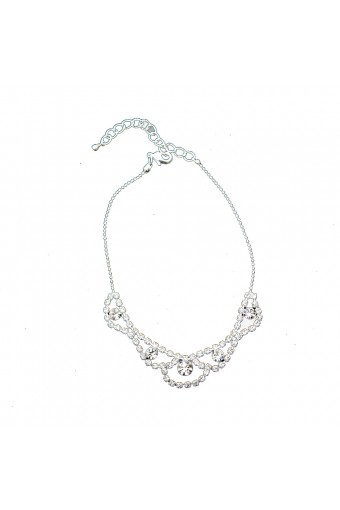 Silver Single Row Strand with Eye Shaped Crystal Rhinestone and Crystal Stone Insert Anklet