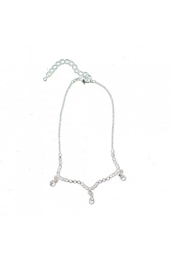 Silver Single Row Strand with Crystal Rhinestone and Dangle Crystal Stone Anklet