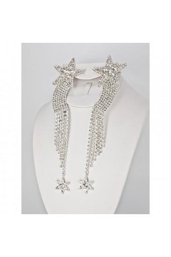 Silver Crystal Star Clip Earring