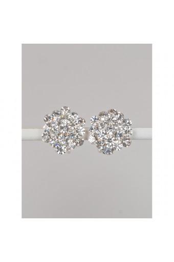 Silver Crystal Rhinestone 15mm Circle Round Flower Shape Clip Earrings