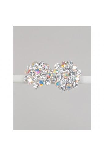 Silver Aurora Borealis Rhinestone 15mm Circle Round Flower Shape Clip Earrings