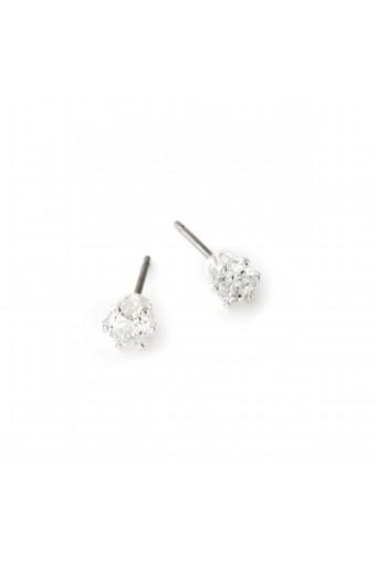 Silver Crystal Cubic Zirconia Stud Earrings