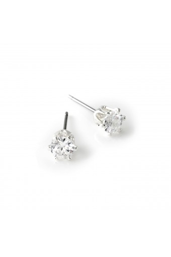 Silver Crystal 5mm Cubic Zirconia Small Round Stud Earrings