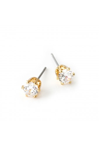 Gold Crystal 5mm Cubic Zirconia Small Round Stud Earrings