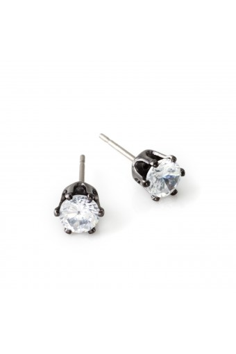 Brass Crystal 5mm Cubic Zirconia Small Round Stud Earrings