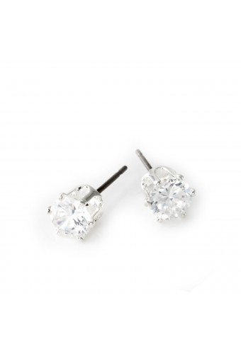 Silver Crystal 6mm Cubic Zirconia Round Shaped Stud Earrings