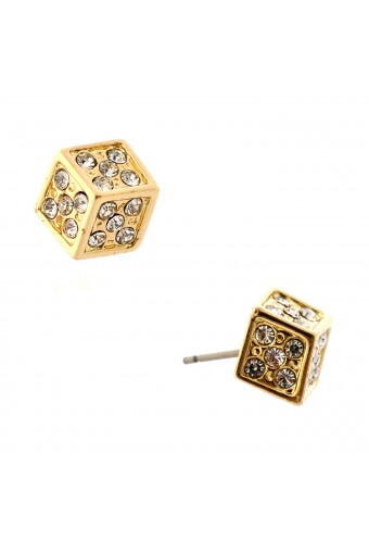 Fashion Jewelry Gold Plating Smal Cube Stud Earrings