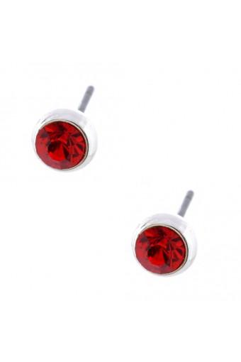 Topwholesalejewel Fashion Earrings Silver Plating Light Siam Stud Earrings